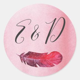 Sticker Rond Faire-part de mariage de Bohème lunatique d'esprit