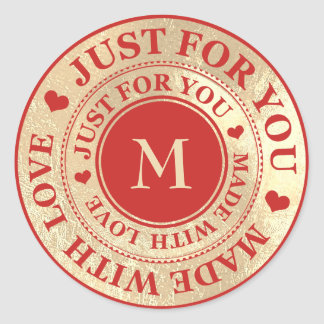 Sticker Rond Fait avec du vin lumineux rouge d'or de monogramme