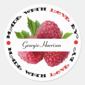 Sticker Rond Fait avec la framboise d'amour