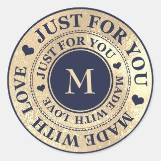 Sticker Rond Fait avec la marine bleue intelligente d'or de