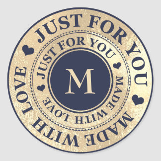 Sticker Rond Fait avec la marine de bleu de noir d'or de