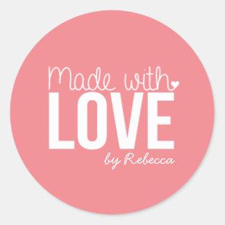 Sticker Rond Fait avec l'autocollant d'amour
