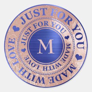 Sticker Rond Fait avec le bleu de cobalt rose d'or de