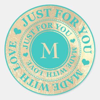 Sticker Rond Fait avec le bleu en bon état de Tiffany d'or de