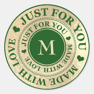 Sticker Rond Fait avec l'herbe verte de Cali d'or de monogramme