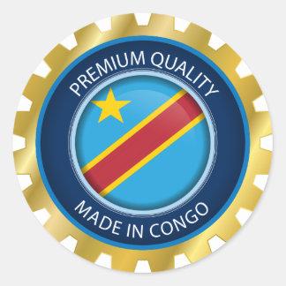 Sticker Rond Fait dans le drapeau du Congo, le République