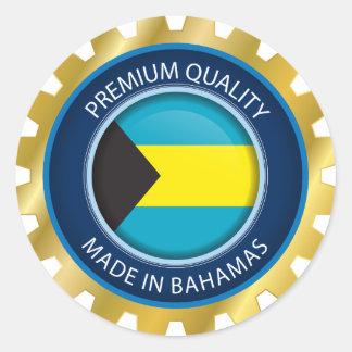 Sticker Rond Fait dans le joint des Bahamas, drapeau bahamien