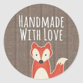 Sticker Rond Fait main avec le Fox rouge d'amour sur les