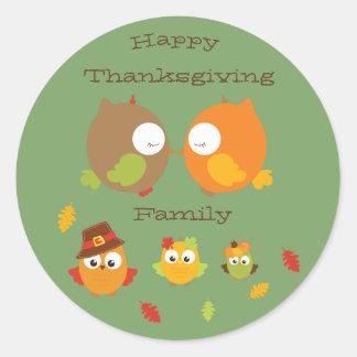 Sticker Rond Famille de bon thanksgiving mon petit hibou pour