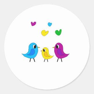 Sticker Rond Famille d'oiseaux