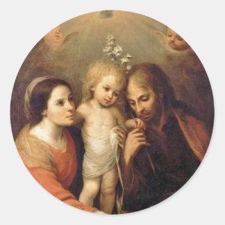 Sticker Rond Famille sainte avec des anges par Gutiérrez