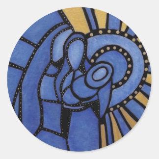 Sticker Rond Famille sainte moderne de Noël bleu