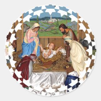 Sticker Rond Famille sainte : Scène de nativité