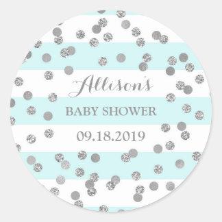 Sticker Rond Faveur argentée de baby shower de confettis de