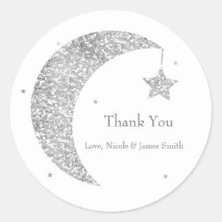 Sticker Rond Faveur argentée et blanche de baby shower de lune