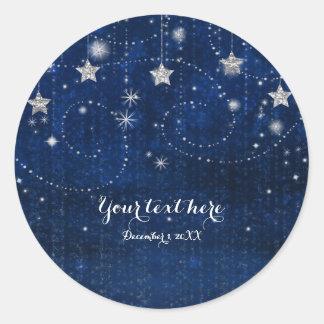 Sticker Rond Faveur céleste bleue et argentée lumineuse de nuit