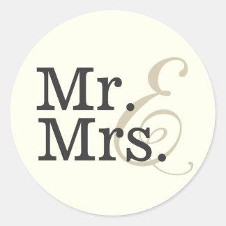 Sticker Rond Faveur de M. et de Mme Classy Ivory White Wedding