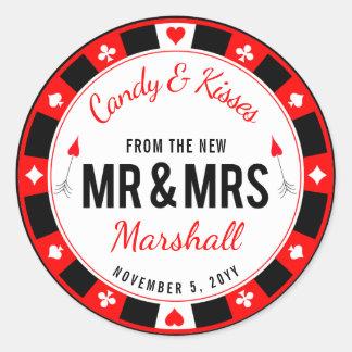 Sticker Rond Faveur de mariage de jeton de poker de M. et de