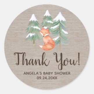 Sticker Rond Faveur de Merci de Fox de région boisée d'hiver