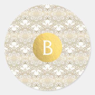 Sticker Rond Faveur élégante moderne blanche de mariage de