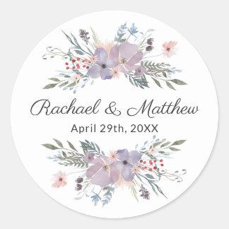Sticker Rond Faveur florale de mariage d'aquarelle pourpre