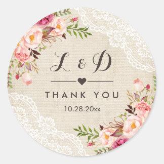 Sticker Rond Faveur florale de mariage de dentelle rustique de