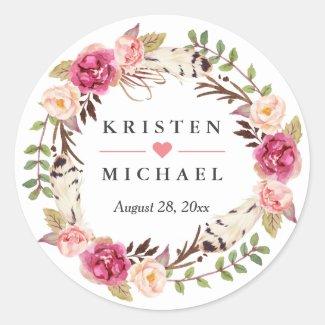 Sticker Rond Faveur florale de mariage de guirlande de plume