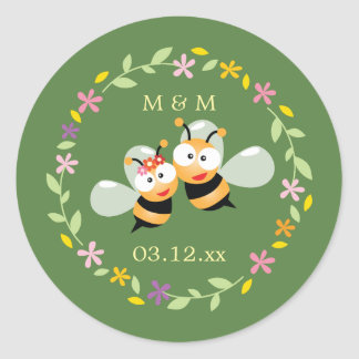 Sticker Rond Faveur lunatique de mariage de guirlande florale