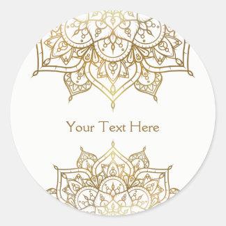 Sticker Rond Faveur moderne chique blanche de mariage de