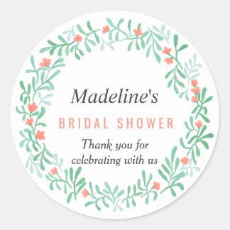 Sticker Rond Faveur nuptiale de douche de guirlande florale