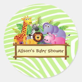 Sticker Rond Faveur unisexe de safari de jungle de baby shower