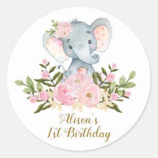 Sticker Rond Faveurs florales d'anniversaire d'autocollant de
