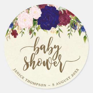 Sticker Rond faveurs florales d'autocollant de baby shower de