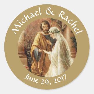 Sticker Rond Faveurs personnalisées de mariage de marié de