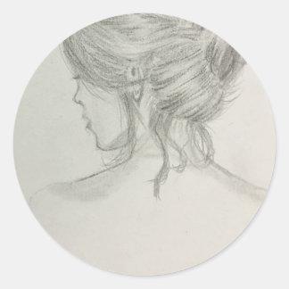 Sticker Rond Femme avec des cheveux vers le haut des
