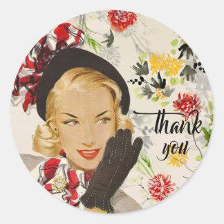 """Sticker Rond Femme chic et vintage """"Merci """""""