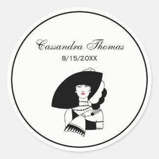 Sticker Rond Femme d'art déco dans les grands gants RL de
