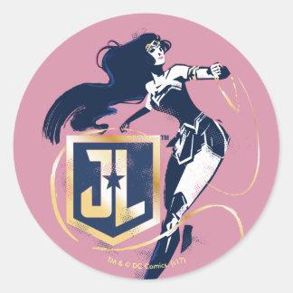 Sticker Rond Femme de merveille de la ligue de justice | et art