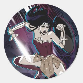 Sticker Rond Femme de merveille - féroce