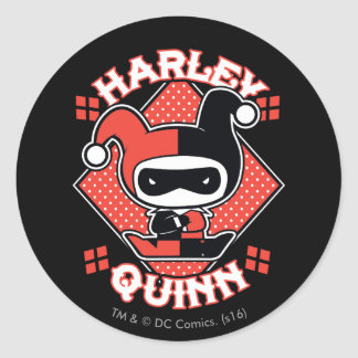 Sticker Rond Fentes de Chibi Harley Quinn