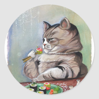 Sticker Rond Festin de fantaisie de chat de sushi