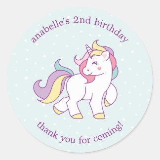 Sticker Rond Fête d'anniversaire de filles de licorne