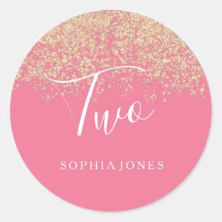 Sticker Rond Fête d'anniversaire de rose de confettis de