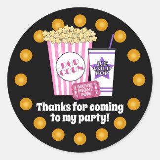 Sticker Rond Fête d'anniversaire de soirée cinéma
