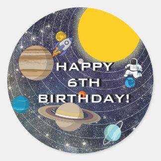 Sticker Rond Fête d'anniversaire de système solaire, cercle