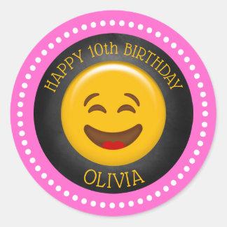 Sticker Rond Fête d'anniversaire Girly mignonne d'Emoji