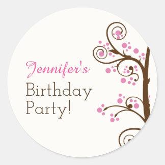 Sticker Rond Fête d'anniversaire lunatique de branche et de