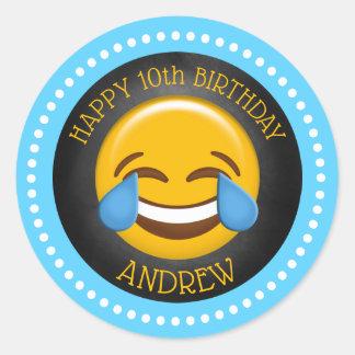 Sticker Rond Fête d'anniversaire mignonne d'Emoji