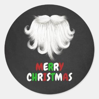 Sticker Rond Fête de Noël blanche de la barbe de Père Noël