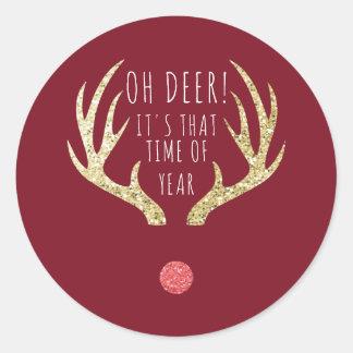 Sticker Rond Fête de vacances de Noël d'andouillers de cerfs